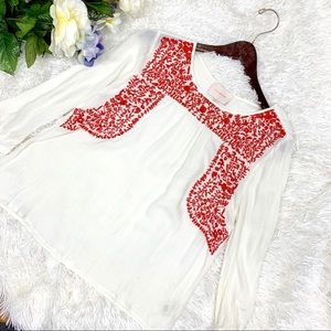 Skies Are Blue Embroidered Boho Blouse Style 32921